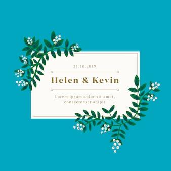 Convite de casamento de folhas verdes