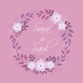 Convite de casamento de guirlanda floral