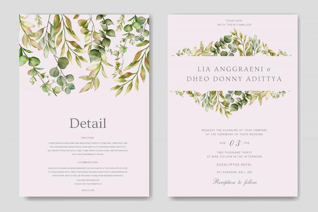 Convite de casamento de hortaliças com folhas de eucalipto