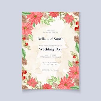 Convite de casamento de inverno com flores de poinsétia