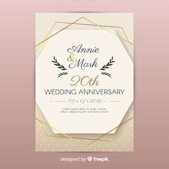 Convite de casamento de linhas douradas