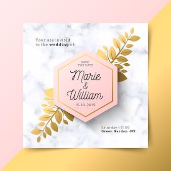 Convite de casamento de luxo com textura de mármore