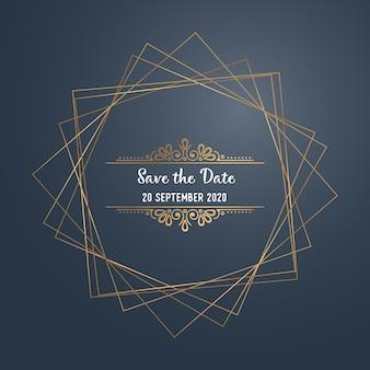 Convite de casamento de luxo de vetor
