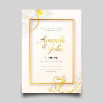 Convite de casamento de luxo dourado gradiente