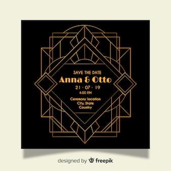 Convite de casamento de luxo em design art deco