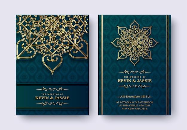 Convite de casamento de luxo estilo mandala