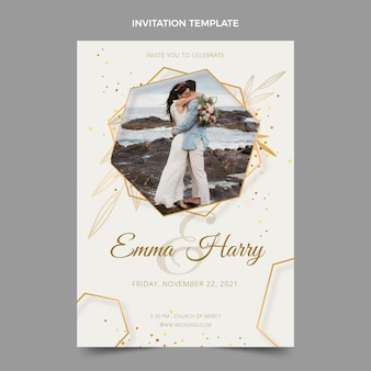 Convite de casamento de luxo realista