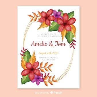 Convite de casamento de moldura floral de pintados à mão