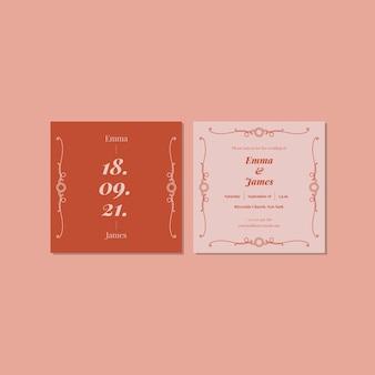 Convite de casamento de monocolor ornamental