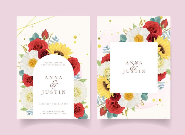 Convite de casamento de outono com aquarela dália e rosas de girassol