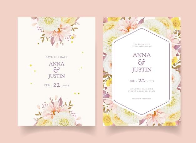 Convite de casamento de outono com aquarela dália e rosas Vetor grátis