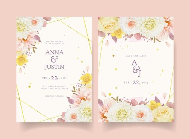 Convite de casamento de outono com aquarela dália e rosas