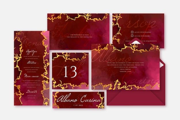 Convite de casamento de papelaria e modelo de menu