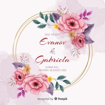 Convite de casamento de quadro floral de pintados à mão