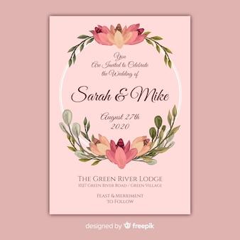Convite de casamento de quadro floral pintado à mão rosa