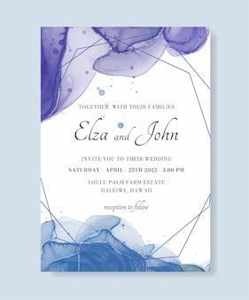 Convite de casamento de tinta alcoólica