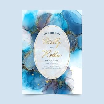Convite de casamento de tinta aquarela com álcool