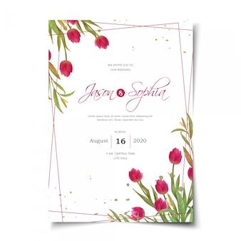 Convite de casamento de tulipas vermelhas em aquarela
