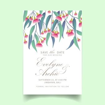 Convite de casamento de vegetação com eucalipto de flor