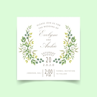 Convite de casamento de vegetação