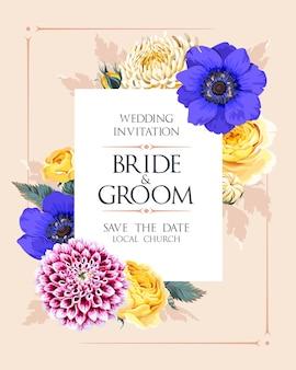 Convite de casamento de vetor com flores no jardim