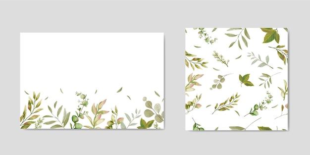 Convite de casamento decorativo com folhas de fundo & sem costura