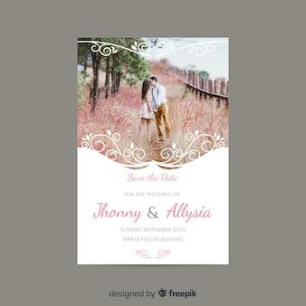 Convite de casamento decorativo com foto