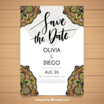 Convite de casamento decorativo com mandalas desenhados à mão