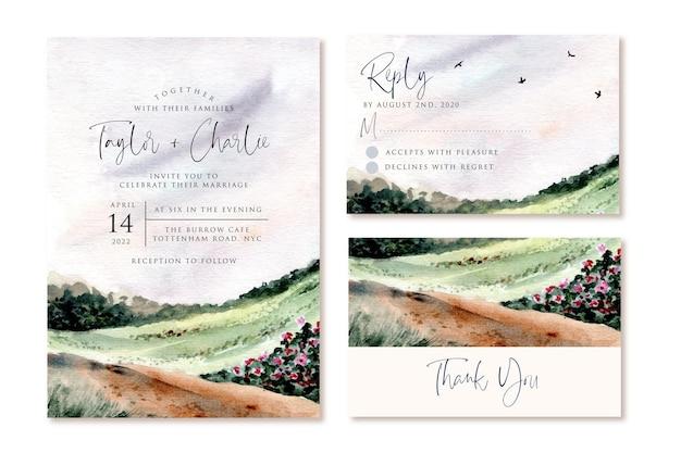 Convite de casamento definido com fundo aquarela de paisagem de colina