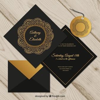 Convite de casamento definido no estilo mandala