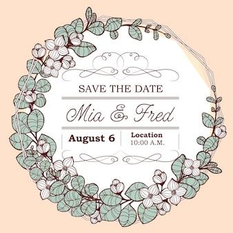 Convite de casamento delicado com coroa de flores de eucalipto