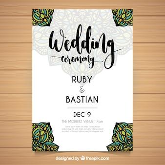 Convite de casamento desenhado à mão com mandalas