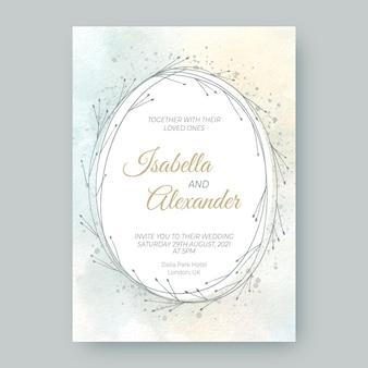 Convite de casamento desenhado à mão em aquarela com folhas