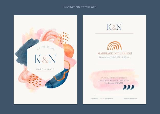 Convite de casamento desenhado à mão em aquarela