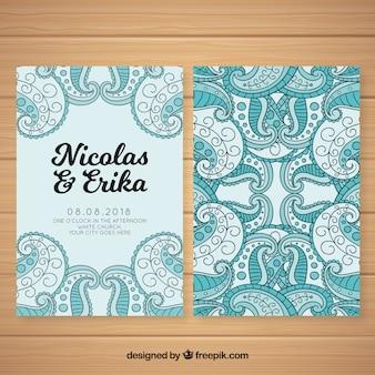 Convite de casamento desenhado de mão com estilo abstrato