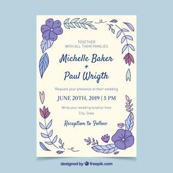 Convite de casamento desenhado de mão com estilo floral