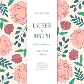 Convite de casamento desenhado de mão com flores