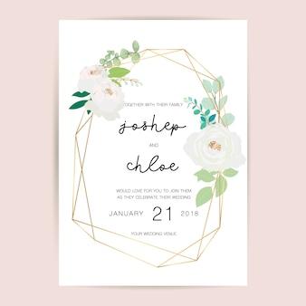 Convite de casamento, design de cartão de convite floral