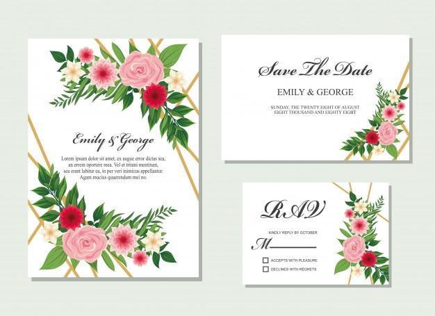 Convite de casamento, design de cartão de convite floral.