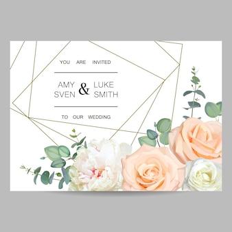 Convite de casamento. design de cartão floral com moldura de cristal