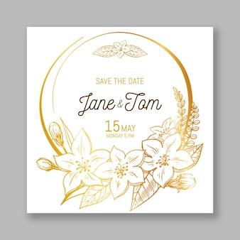 Convite de casamento detalhado floral dourado