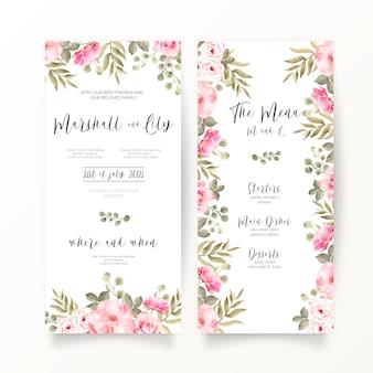 Convite de casamento dl e modelo de menu com flores cor de rosa suaves