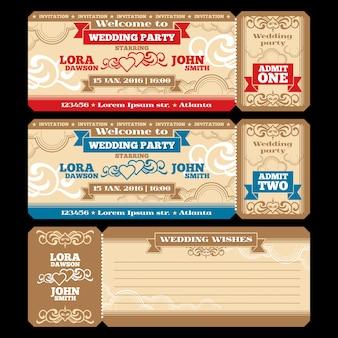 Convite de casamento do bilhete do vetor. design de convite de cartão, ilustração de saudação de casamento