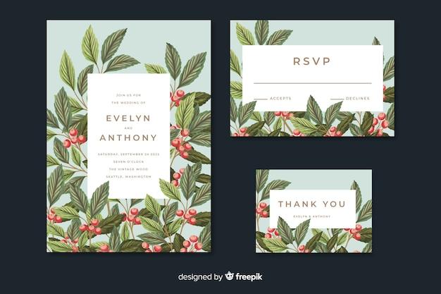 Convite de casamento do vintage com folhas