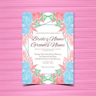 Convite de casamento do vintage com lindas flores azuis e rosa
