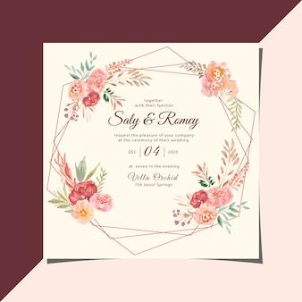 Convite de casamento do vintage com moldura floral aquarela