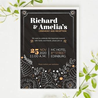 Convite de casamento do vintage no modelo de quadro-negro