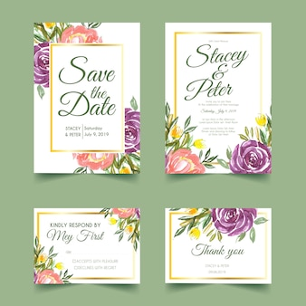 Convite de casamento doce floral aquarela
