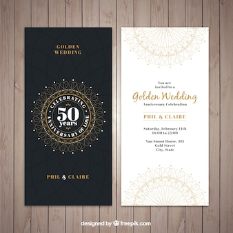 Convite de casamento dourado clássico