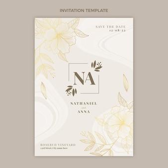 Convite de casamento dourado de luxo realista